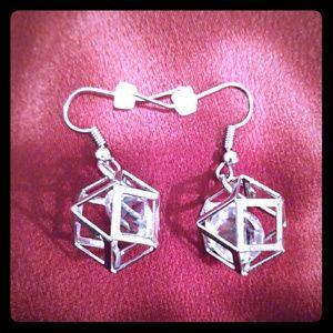 Handmade Silver Cube with Diamond shape earrings